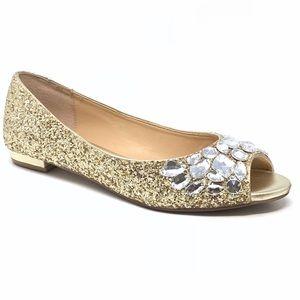 Badgley Mischka Jewel Gold Glitter Evening Flats